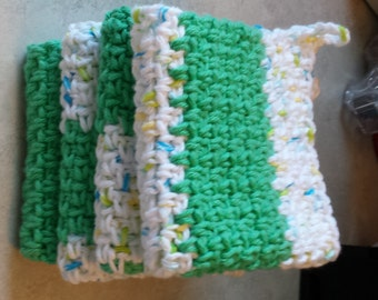 Perfect gift ever. ...5 Handmade Cotton Dish Rags - Dishcloths Ready to ship.    Free Shipping