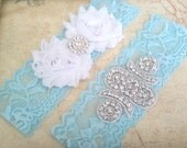 Light Blue Lace Rhinestone Wedding Garter Set, White Garter, Blue Lace Garter Set, Keepsake Garter, Toss Garter, Blue Bridal Garter Set