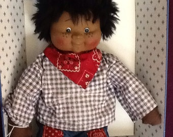 "Rare Black Doll-""Sweet Love Kids"" Doll c1984. Cloth/Vinyl. Manufactured head-Crafter-made body/clothing. Collectible black doll, Older Child"