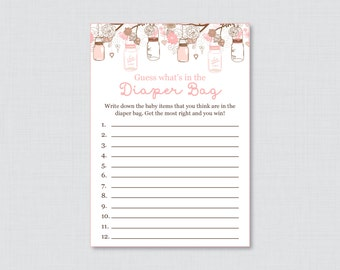 Baby Shower Diaper Bag Game, Printable Guess Whatu0027s In The Diaper Bag Game  In Pink