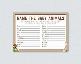 Baby Animals Name Game Safari Baby Shower Printable - Instant Download - Safari Baby Shower Game, Giraffe, Lion - Safari