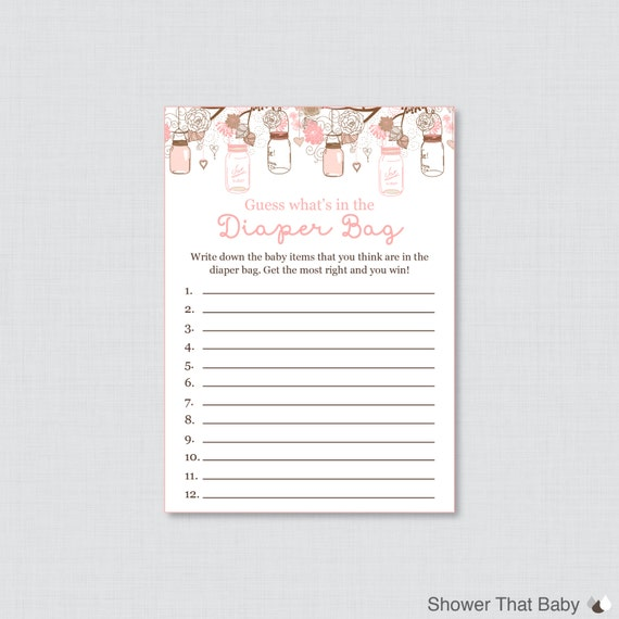 Baby Shower Diaper Bag Game Printable Guess What S In The
