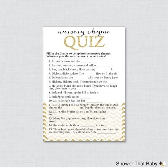 Glitter nursery rhyme game printable chevron baby shower game in