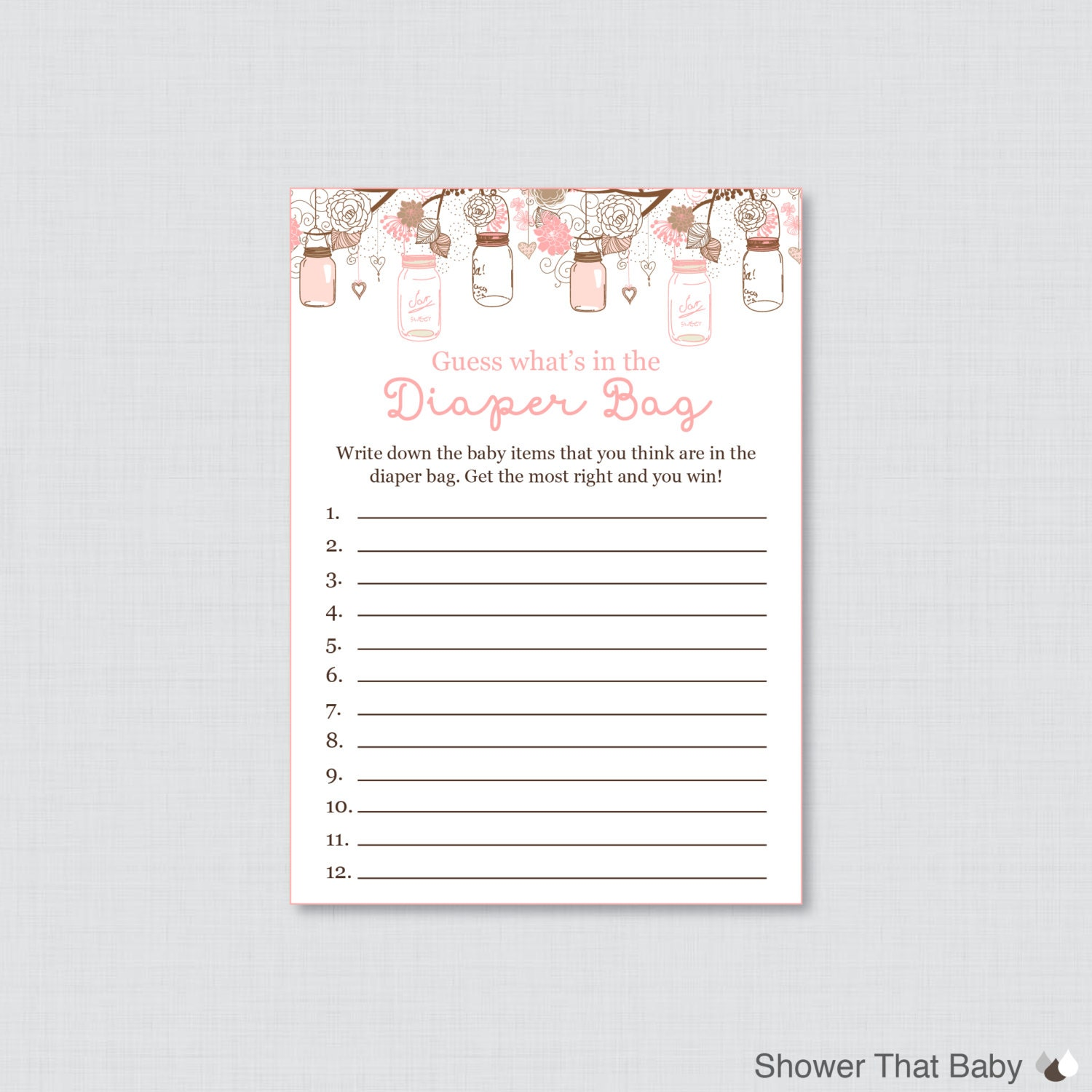 Baby Shower Diaper Bag Game Printable Guess What's In The