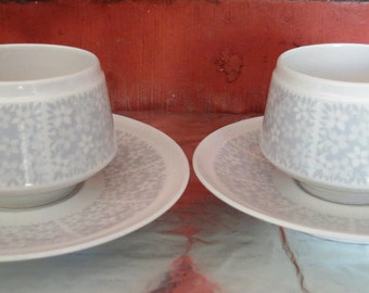 Arabia Finland Pitsi vintage  coffee cups(2) and saucers(2).