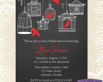 Red Bridal Shower Invitation - Hanging Bird Cage Bridal Shower Invite - Birds Chalkboard Wedding Shower Invitation - 1151 PRINTABLE