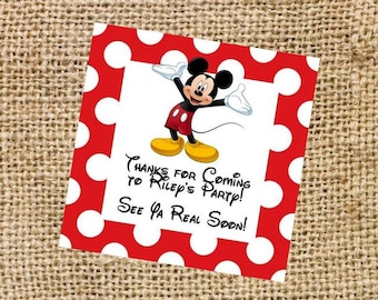 Mickey Printable Labels - Red Polka Dot
