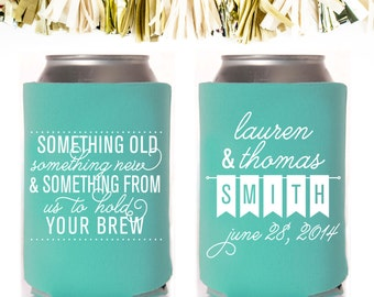 Something Old Something New and Something From Us to Hold Your Brew Wedding Favors: Custom and Personalized Can Cooler // Flags Banner