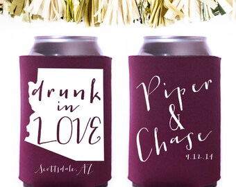Drunk In Love Wedding Favors: Custom and Personalized Can Cooler // State