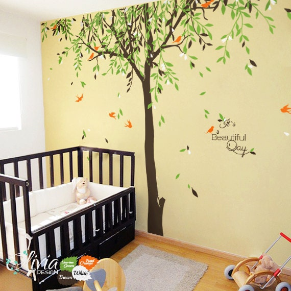 Large Baby Nursery Willow Tree Vinyl Wall Decal NT - Vinyl wall decals baby nursery