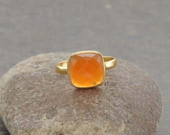 Fanta Chalcedony Cushion 10mm Faceted Micron Gold Plated 925 Sterling Silver Gemstone Ring - #1076