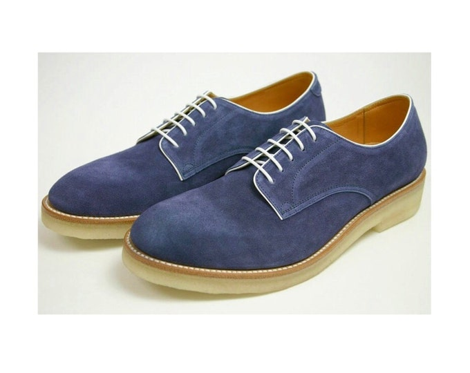 Fashion Casual Suede Pattern,NATURAL RUBBER SOLE, Handmade Goodyear Welted Men's Shoes,
