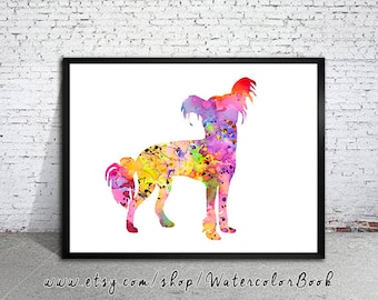 Chinese Crested  Watercolor Print, Home Decor,dog watercolor,watercolor painting,Chinese Crested  art,animal watercolor, Chinese Crested art