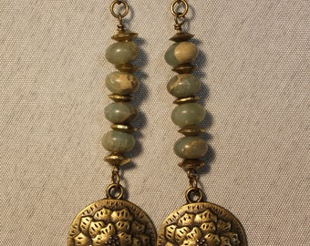 Jade and brass earrings with an Asian motif