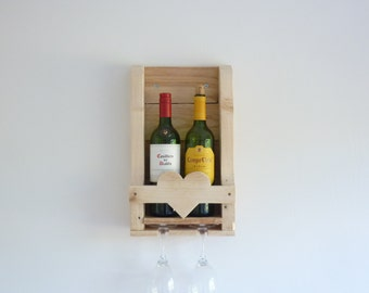 Rustic Wooden Wine Rack Heart Detail. Great Wedding Gift, Anniversary, Romantic Gift