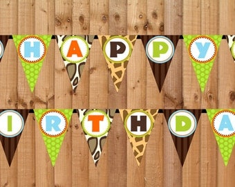 Wild Safari Happy Birthday Banner- INSTANT DOWNLOAD - Printable Party Decorations
