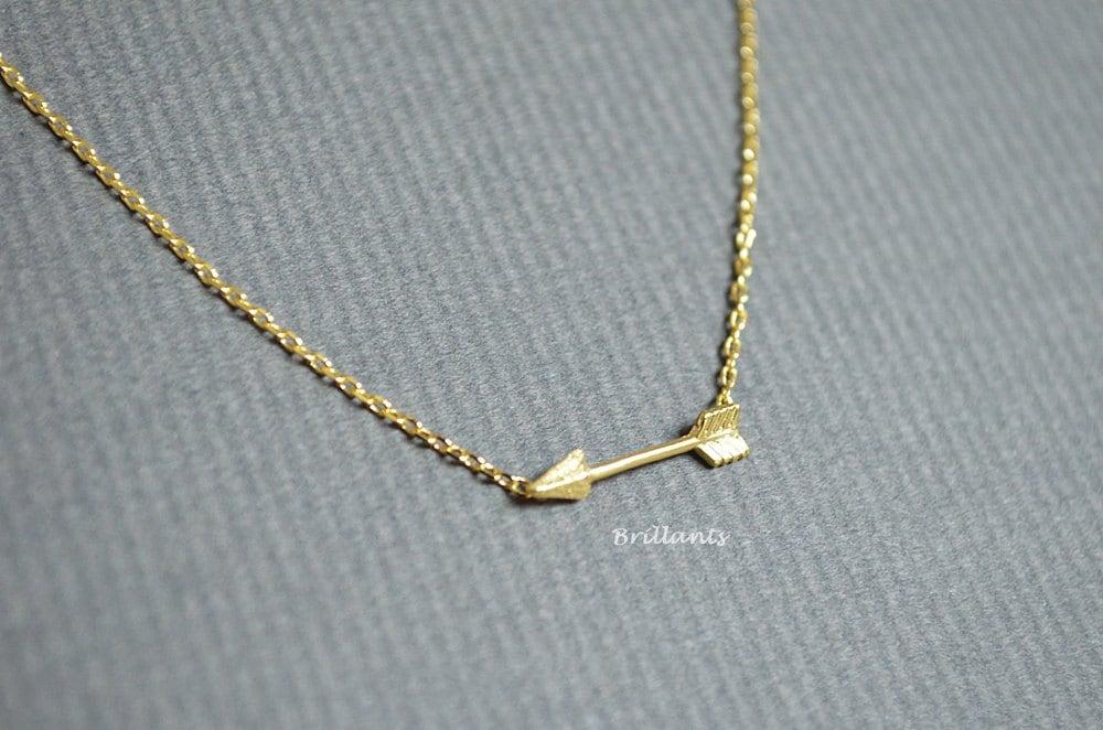 gold arrow necklace bridesmaid jewelry everyday by brillants
