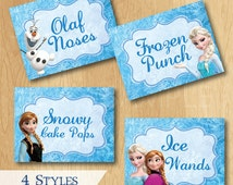 Frozen Birthday Food Labels - Custom Disney Frozen Birthday Printable Party Treat Tent Labels Place Cards