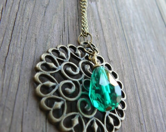 Artisan Copper Pendant Long Necklace with Emerald Teardrop Bead