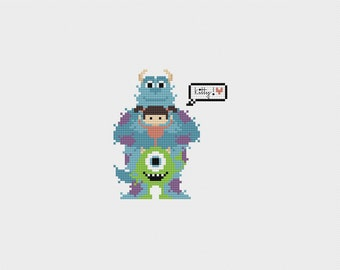 "Monsters Inc ""Kitty"" Cross Stitch Pattern PDF Instant Download"