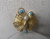 1920s Vintage Filigree Butterfly With Turquoise and Pearls Brooch Pin