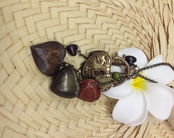 Lovely Heart Antiqued Brass Necklace