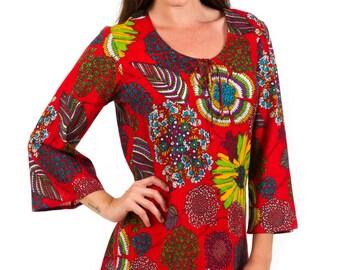 "Kaftan Dress or Beach Cover Up - 100% Cotton, ""Venetian Red"""