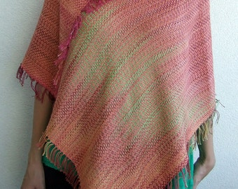 Cotton poncho hand dyed cotton hand woven poncho women clothing cotton cape woman poncho fashion gifts gift for her hand dyed cotton fabric