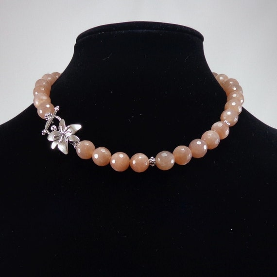 Peach Moonstone Necklace/ Peach color/ by angelovajewelry ...