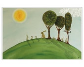 Hares and Rabbits in the Sunshine Painting Print from an Original Water Colour called: A Hare is not a Rabbit