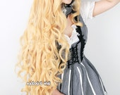 Ever After High pastel blonde  Apple White 110cm long side parted wave cosplay wig  .lolita hair