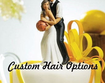 Wedding Cake Topper - Basketball Couple - African American Wedding Couple - Sports Theme Wedding - Bride and Groom Wedding Cake Topper
