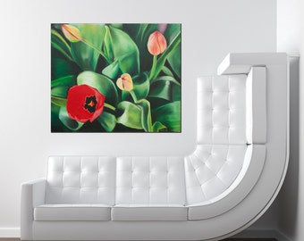 Tulips in my moms garden - Giclée Art Print - Print on Canvas by GraphicsMesh