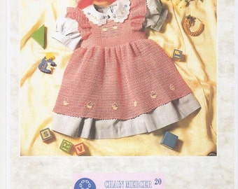 Baby Crochet Pinafore and Mobcap, Baby Girls Crochet Pinafore. Reborn Girls Pinafore. Crochet Pattern only.