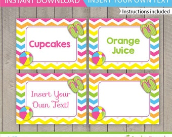 Pool Table Tents / Pool Party Food Labels /  Kids Pool Party Food Tents / Pool Party Printable / Pool Decoration / INSTANT DOWNLOAD