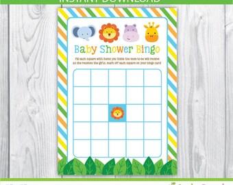 baby shower bingo / baby shower bingo printable / bingo baby shower / jungle baby shower bingo / Safari baby shower bingo / INSTANT DOWNLOAD