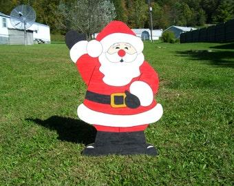 Christmas Waving Santa Claus Outdoor Wood Yard Art Lawn Decoration
