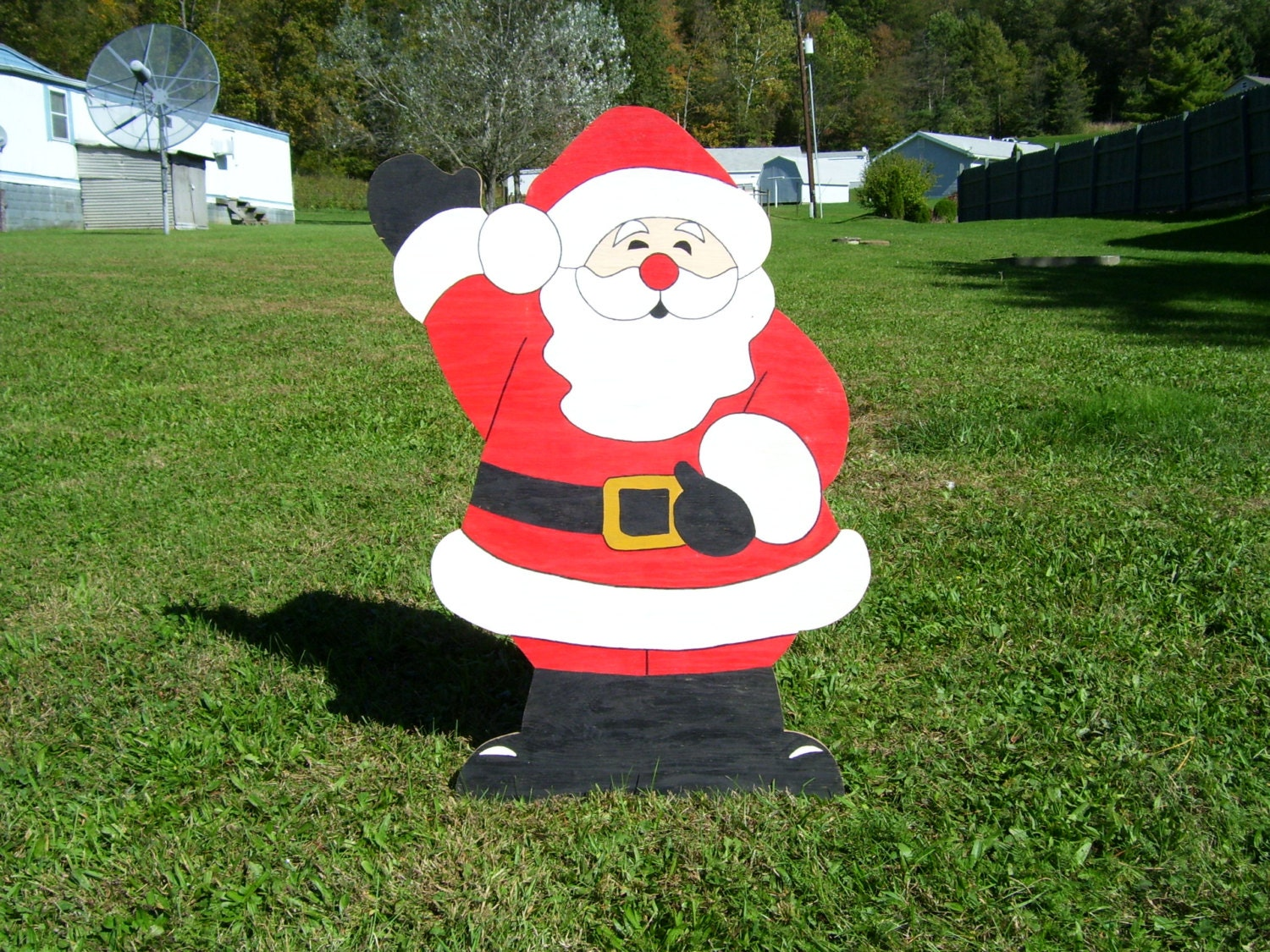 Wooden outdoor christmas decorations - Christmas Waving Santa Claus Outdoor Wood Yard Art Lawn Decoration