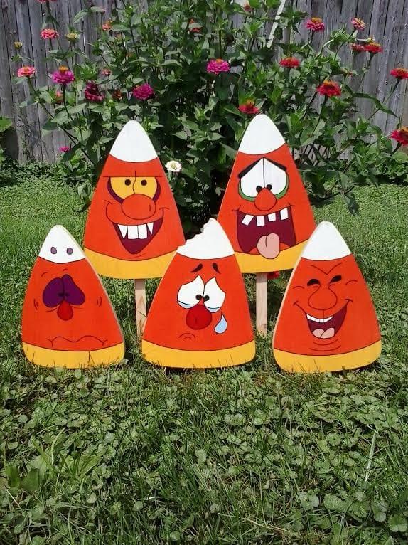 Crazy candy corn halloween outdoor wood yard art lawn