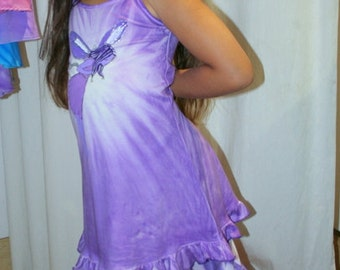 Hand painted Purple Fairy Tie Dye spaghetti straps dress