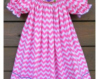 Owl Smocked Bishop Dress ~ Pink Chevron
