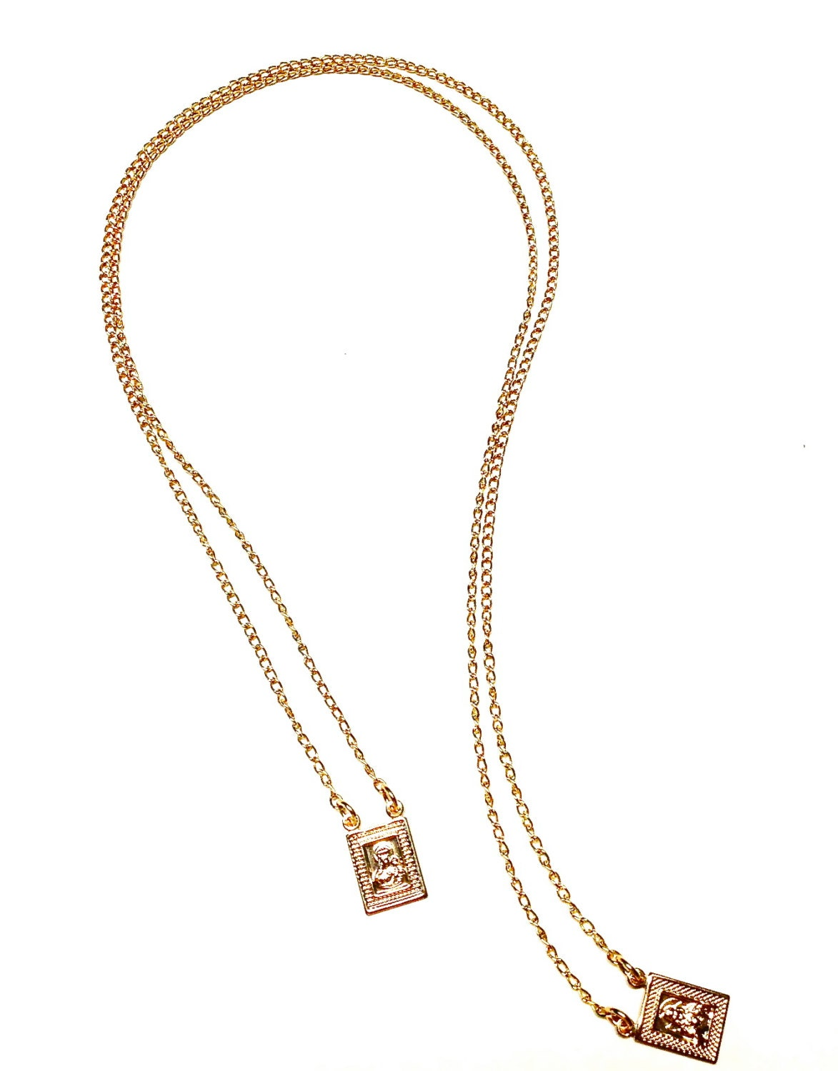 18k gold filled scapular escapulario necklace