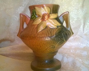 REDUCED!!!     ROSEVILLE Pottery Clematis Vase, Brown 188-6