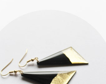 upcycled earrings vinyl record earrings eco friendly earrings gold earrings black and gold jewelry contemporary jewelry geometric earrings