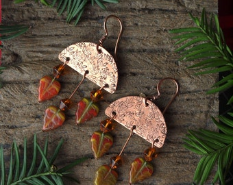 autumn earrings, copper autumn earrings, handmade autumn earrings, chic autumn earrings, AUTUMN, copper earwires