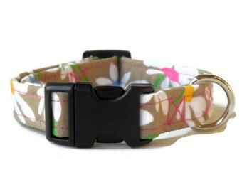 Brown Daisies Adjustable Girl Dog Collar