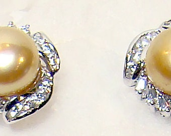 Cafe Society Collection Earrings Pierced Silver with Gold Pearl Rhinestones