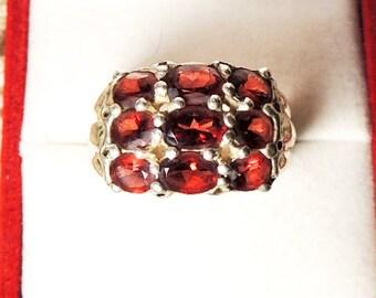 Vintage 9 Red Garnets Sterling Silver Ring NF 925, Nickel Free
