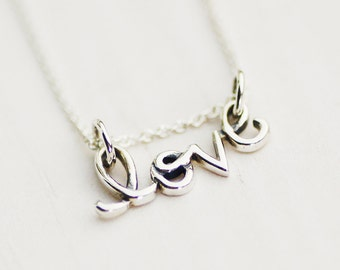 FREE SHIPPING - Love Necklace - Sterling Silver Love Script Necklace
