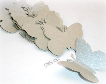Silver  double sided Large Butterfly Cut outs-Set of 30 pcs